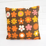 Vintage 1960s Cushion & Pad - Genia Sapper Heidi Flower Power, Orange