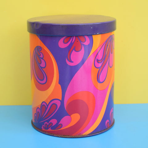 Vintage 1970s Metal Tin - Psychedelic Swirls  - Purple, Pink, Orange
