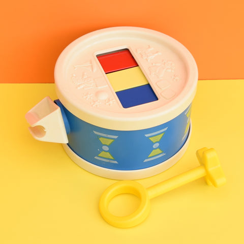Vintage 1970s kitsch Plastic Fisher Price Drum - With Stick