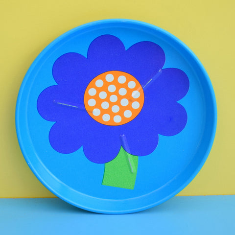 Vintage 1970s Laurids Lonborg Flower Power Metal Coasters - Blue x4