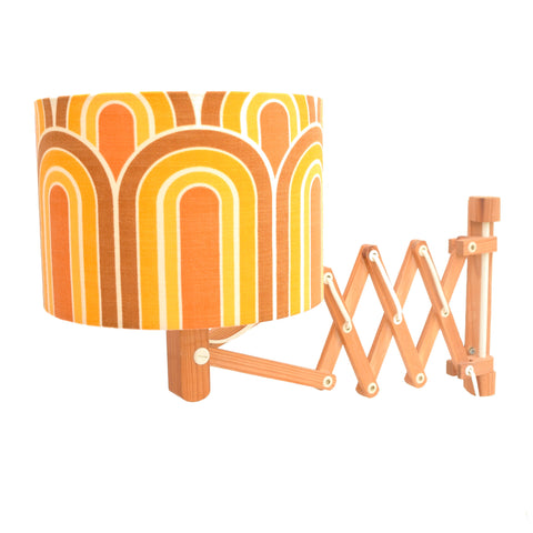 Vintage 1970s Wooden Scissor Wall Lamp - Geometric Shade, Orange & Brown