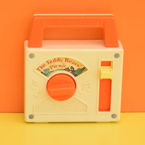 Vintage 1970s kitsch Plastic Fisher Price Musical Wind Up Radio - Teddy Bears Picnic