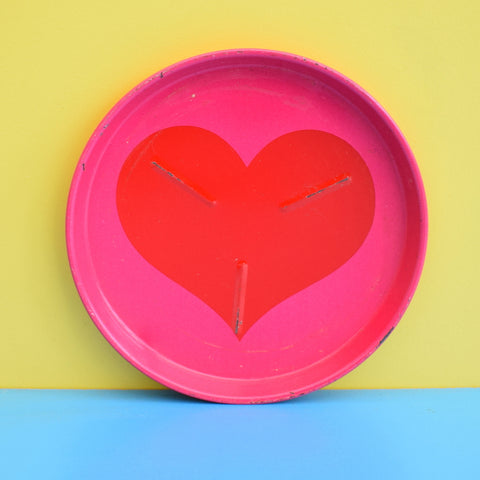 Vintage 1970s Rare Laurids Lonborg Heart Metal Coasters - Red & Pink