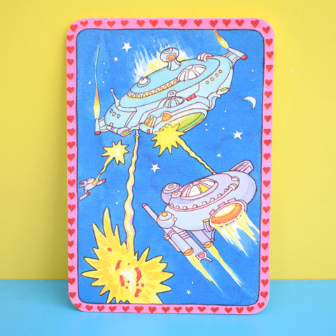 Vintage 1970s American Valentines Card - Two Designs - Robots / Space Ships