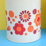 Vintage 1970s Metal Tin - Brabrantia Style - Flower Design, Orange & Chrome