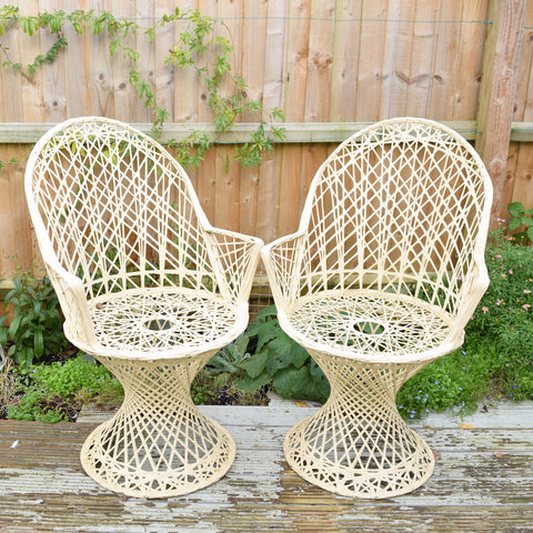 Vintage Fibreglass Strand Arm Chair Pair - Russell Woodard - Cream / Biscuit