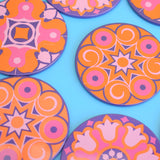 Vintage 1970s Round Metal Coasters Set - Ian Logan - Pink, Orange & Purple
