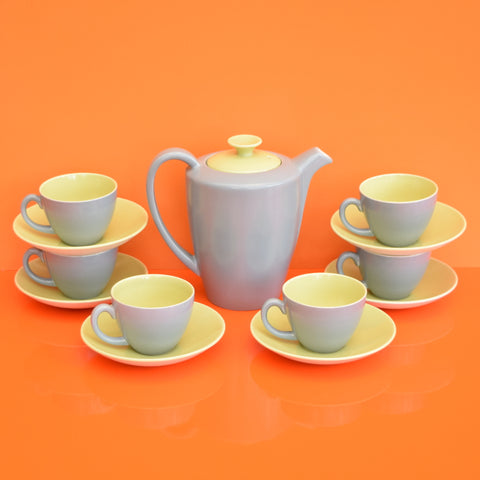 1950s Poole Twintone China - Coffee Set - Moonstone Grey & Lime Yellow