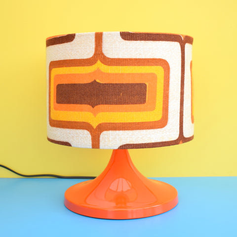 Vintage Metal Lamp & Vintage Geometric Fabric Shade - Orange & Brown