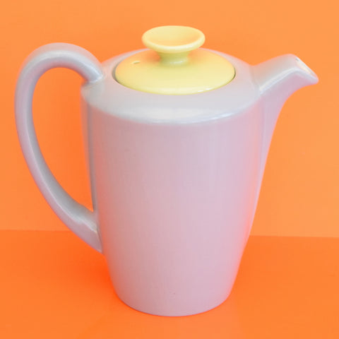 Vintage 1950s Poole Twintone China - Hot Water Pot - Moonstone Grey & Lime Yellow