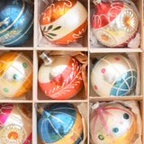 Vintage 1950s Large Hand Painted Glass Christmas Baubles / Decorations - Mixed (Boxed.)