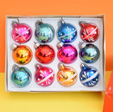 Vintage 1970s Medium Glass Christmas Baubles / Decorations - Mixed Colours (Boxed.)