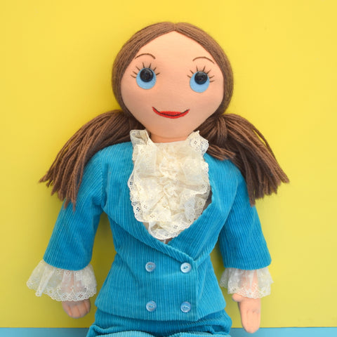 Vintage 1970s Large Fabric Doll In Turquoise Suit - Austin Powers Style