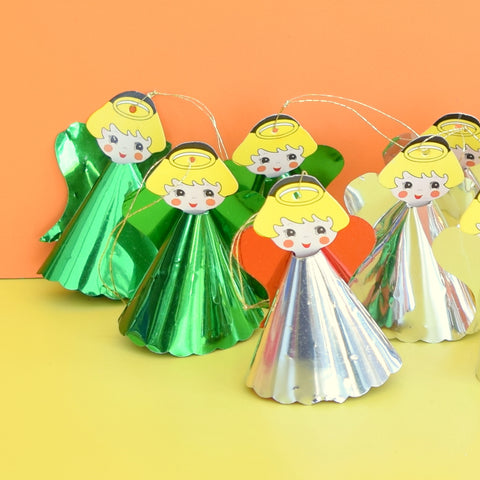 Vintage 1970s Kitsch Angel Decorations - Silver / Gold / Green Foil x11