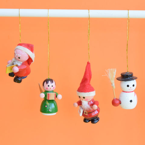 Vintage 1960s Wooden Christmas Decorations x8