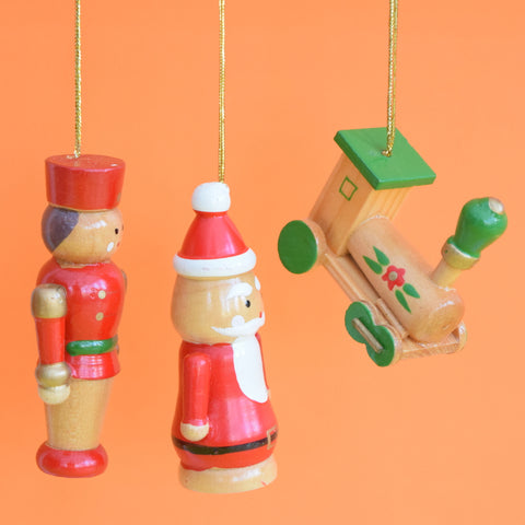 Vintage 1960s Wooden Christmas Decorations x6 Larger