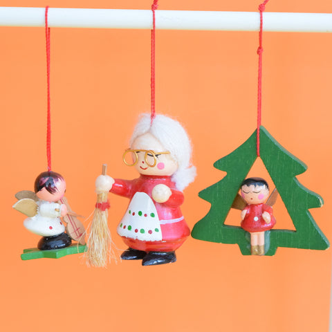 Vintage 1960s Wooden Christmas Decorations x6