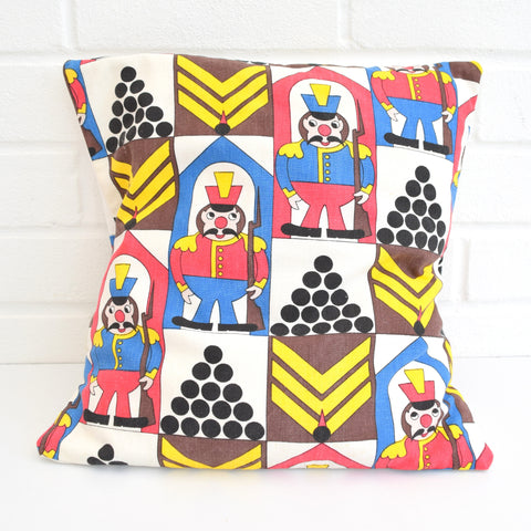 Vintage 1960s Children's Cushion & Pad - Soldier Design, Blue & Red