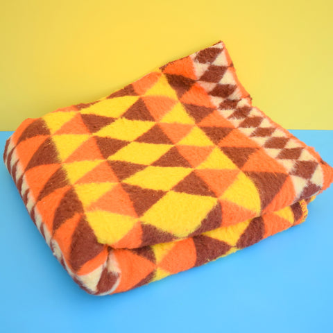 Vintage 1970s fluffy Wooly Blanket / Throw - Orange & Brown