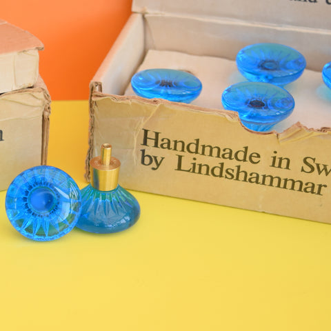 Vintage 1960s Glass Handles - New Old Stock - Round - Swedish - Blue - Boxed