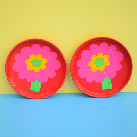 Vintage 1970s Laurids Lonborg Flower Power Metal Coasters - Pink / Red x2