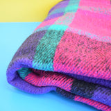 Vintage 1980s Blanket / Throw - Purple, Pink, Black & Turquoise