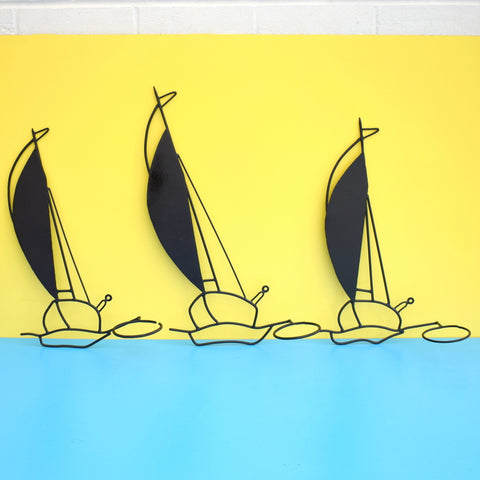 Vintage 1950s Atomic Sail Boat Wall Planters - Black
