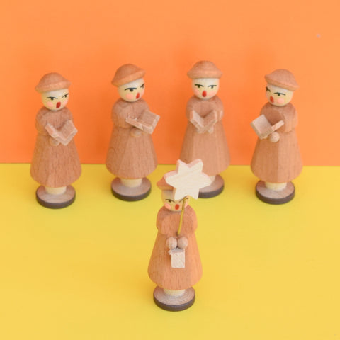 Vintage Erzgebirge German Wooden Carol Singers - Plain Wood