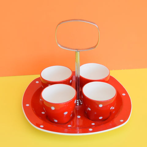 Vintage 1950s Midwinter Spotty Domino Egg Cups On Stand - Red