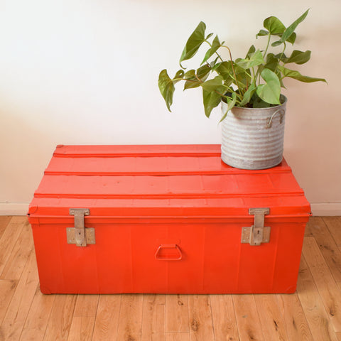 Vintage 1960s Large Metal Trunk / Coffee Table - Bright Red