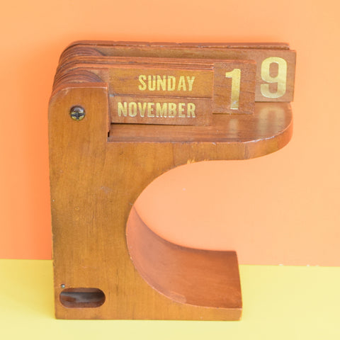 Vintage 1960s Flip Over Teak Desk Calendar - Stylish