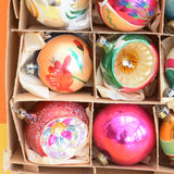 Vintage 1950s Hand Painted Medium / Large Glass Christmas Baubles / Decorations - Mixed (Boxed)