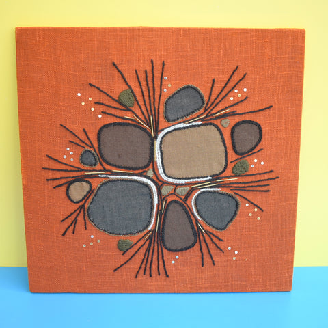 Vintage 1960s Embroidered / Collage Picture - Brown & Rust Orange
