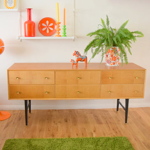 Vintage 1960s Light Oak Sideboard / Drawer Unit