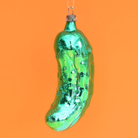 Vintage 1950s Fine Glass Lucky Pickle Christmas Bauble / Decoration - Green