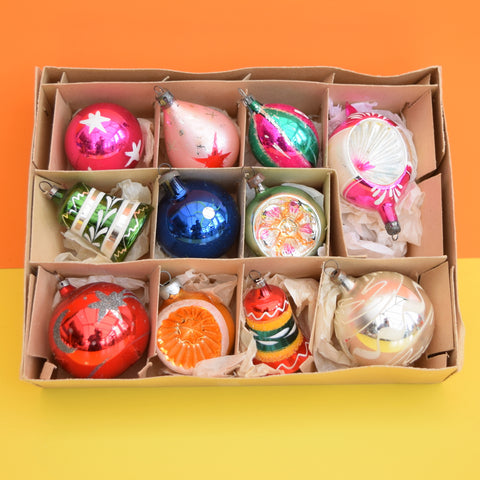Vintage 1950s Hand Painted Medium Glass Christmas Baubles / Decorations - Mixed (Boxed)..