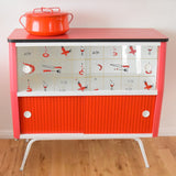 Vintage 1950s Amazing Formica / Patterned Glass Display Cabinet - Red Vegetable Print