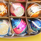 Vintage 1950s Hand Painted Medium / Medium Glass Christmas Baubles / Decorations - Concave