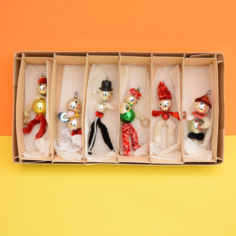 vintage 1950s pipe cleaner people glass christmas decorations boxed - Vintage Pipe Cleaner Christmas Decorations