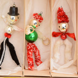 Vintage 1950s Pipe Cleaner People / Glass Christmas Decorations - Boxed