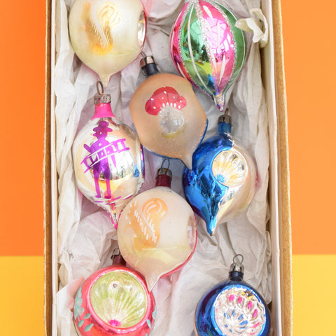 Vintage 1950s Hand Painted Medium Glass Christmas Baubles / Decorations - Drop Concave