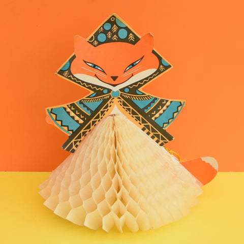 Vintage 1950s Russian Honeycomb Paper Decoration - Folk Fox - Orange
