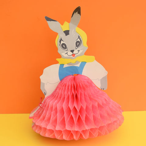 Vintage 1950s Russian Honeycomb Paper Decoration - Folk Rabbit - Pink