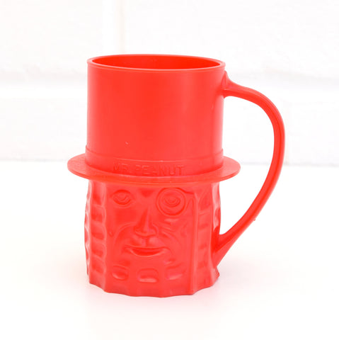 Vintage 1950s American - Mr Peanut Cup - Red Plastic Advertising
