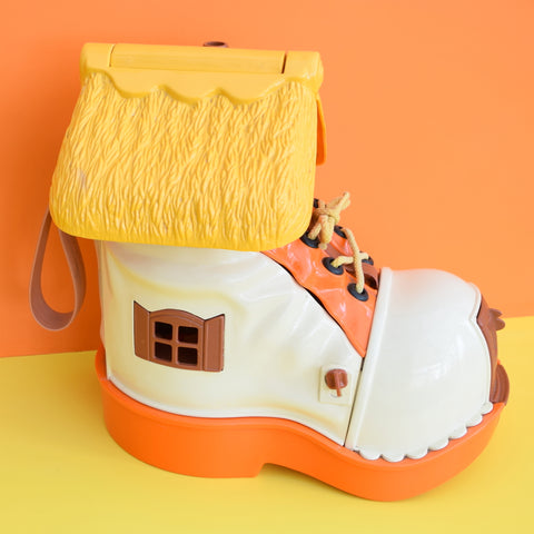 Vintage 1970s kitsch Plastic Matchbox Shoe House Toy - Orange