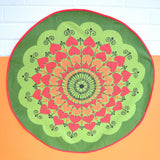 Vintage 1970s Swedish , Round Tablecloth - Heart Design - Red / Green