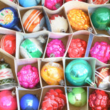 Vintage 1950s Hand Painted Medium / Smaller Glass Christmas Baubles / Decorations - 25 Mixed (Boxed)