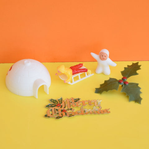 Vintage 1960s Small Plastic Gnome / Snow Baby Christmas Cake Decorations