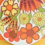 Vintage 1970s Flower Power Chopping Board - Taunton Vale - Orange