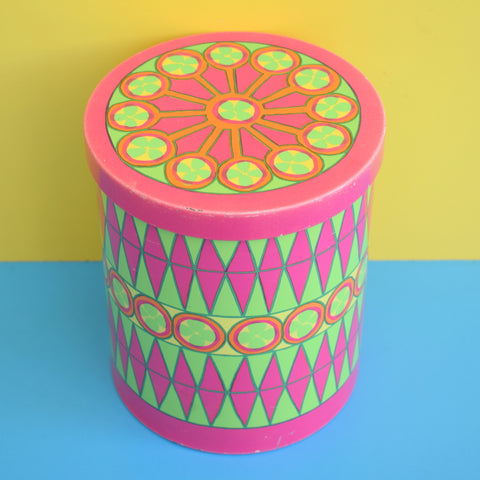 Vintage 1970s Round Metal Tin - Danish by Anita Wangel - Pink & Green